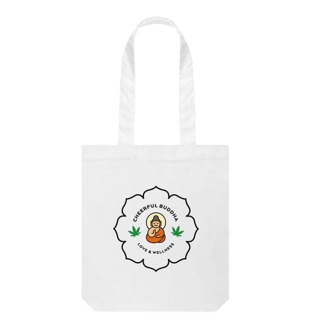 White Cheerful Buddha Organic Cotton Tote Bag - White