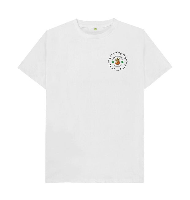 White Cheerful Buddha Organic Cotton T Shirt - Black logo