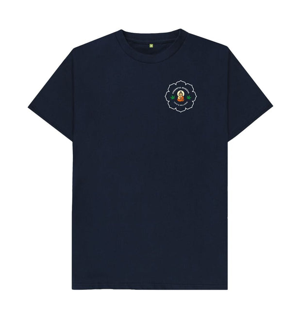 Navy Blue Cheerful Buddha Organic Cotton T Shirt - White logo