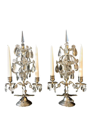 Chairish Pair of Maison Baguès Style Candelabras in Silvered Bronze and Crystal
