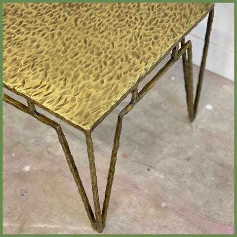 Corbin Cruise Gouged Brass Coffee Table
