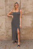 Black Ribbed Stripe Tank Dress