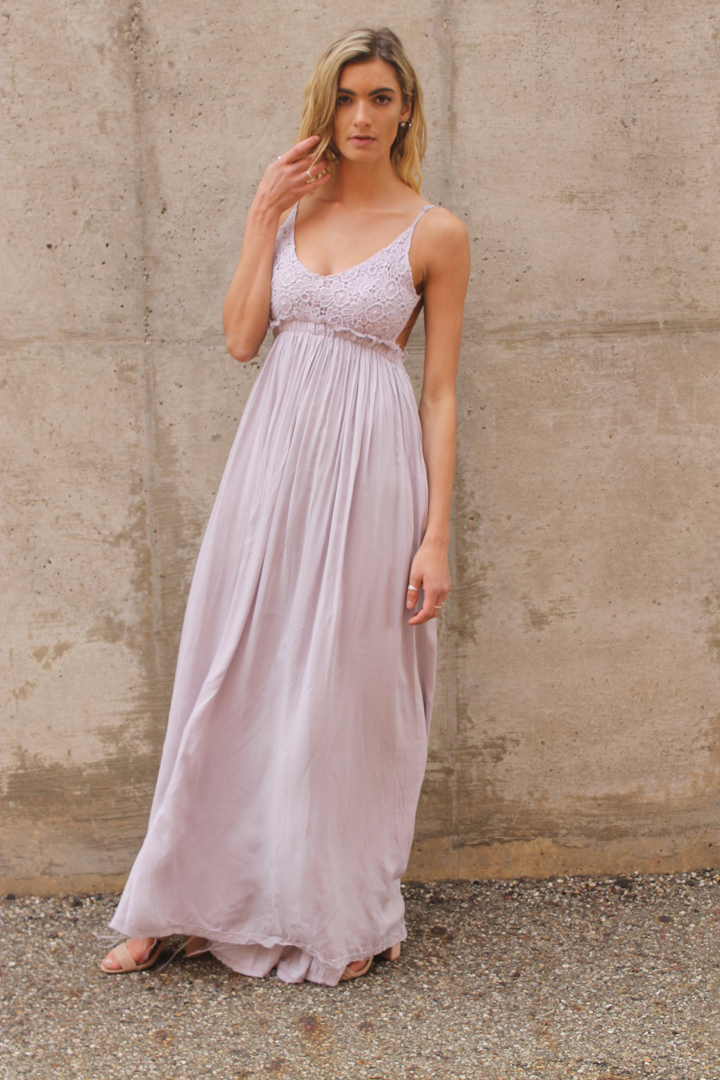 Lavender Crochet Open Back Maxi Dress