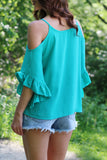 Jade Cold Shoulder Ruffle Top