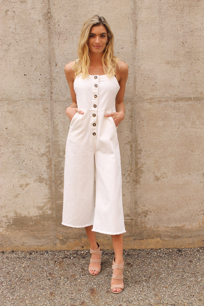 Ivory Button Up Jumpsuit
