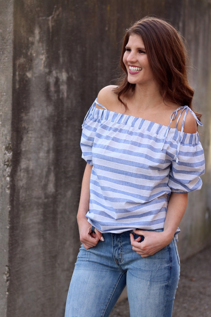 Blue/Grey Stripe Off Shoulder Top