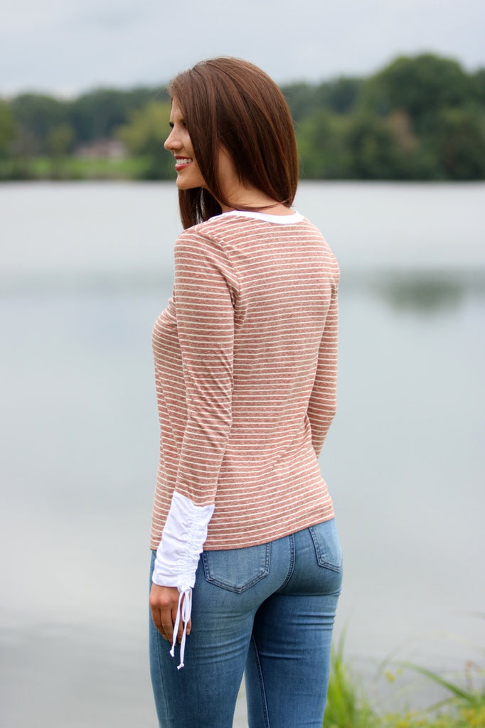 Rust Stripe Long Sleeve Top
