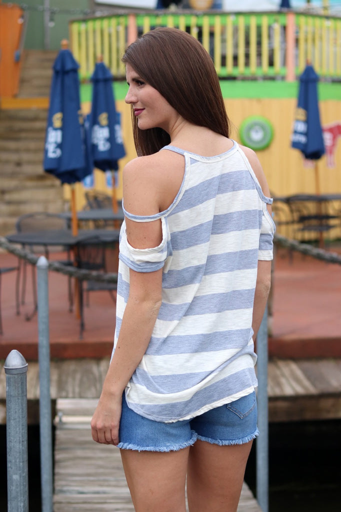 Grey Stripe Cut Out Sleeve Top