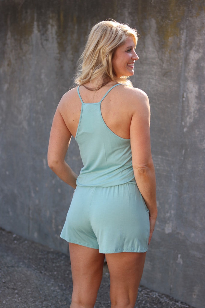 Sage Knit Romper W/ Pockets