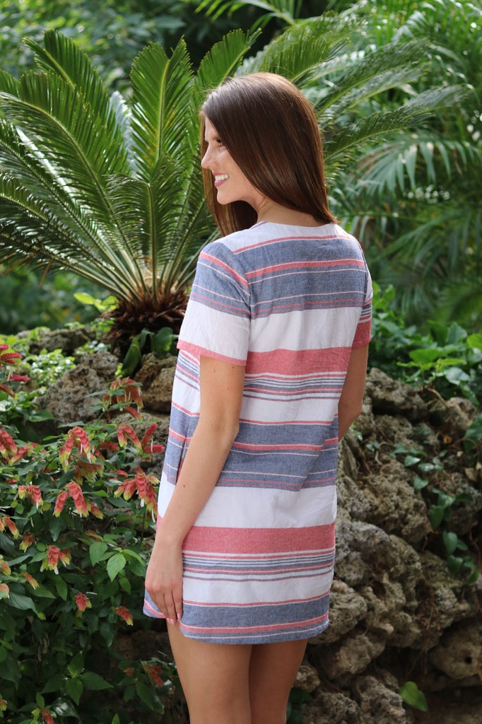 Red/Denim Stripe Shift Dress