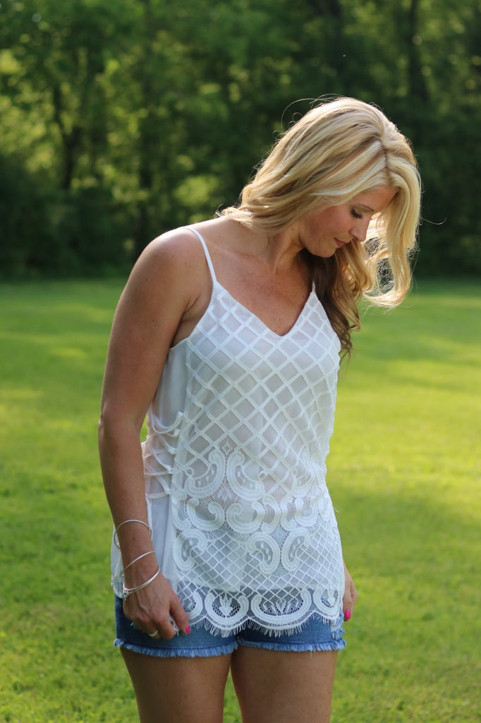 White Side Tie Lace Tank