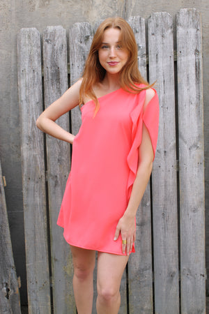 Coral One Shoulder Dress