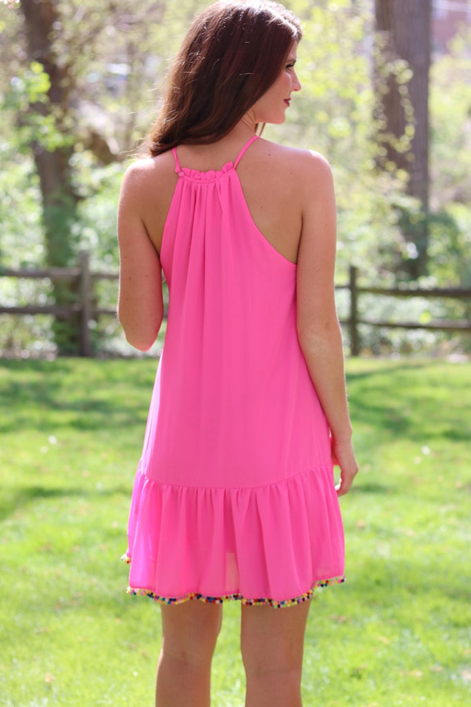 Pink Ruffle PomPom Dress