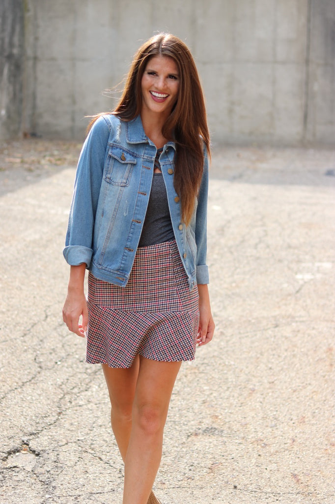 Red Houndstooth Knit Skirt
