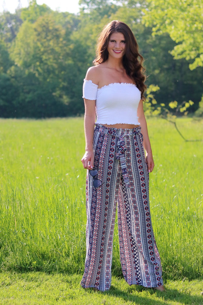 Navy Tribal Wide Leg Pant