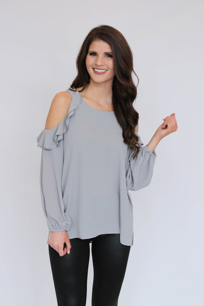 Grey Ruffle Cold Shoulder Blouse