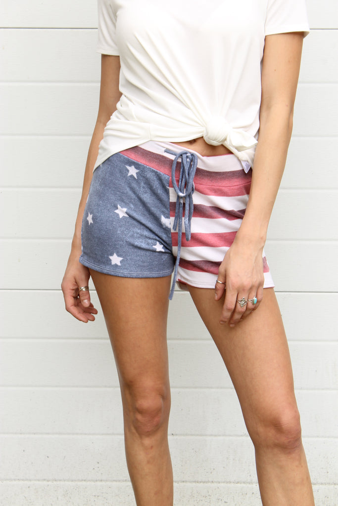Red Americn Flag Shorts