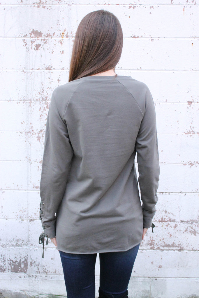 Grey Terry Lace Up Sleeve Top