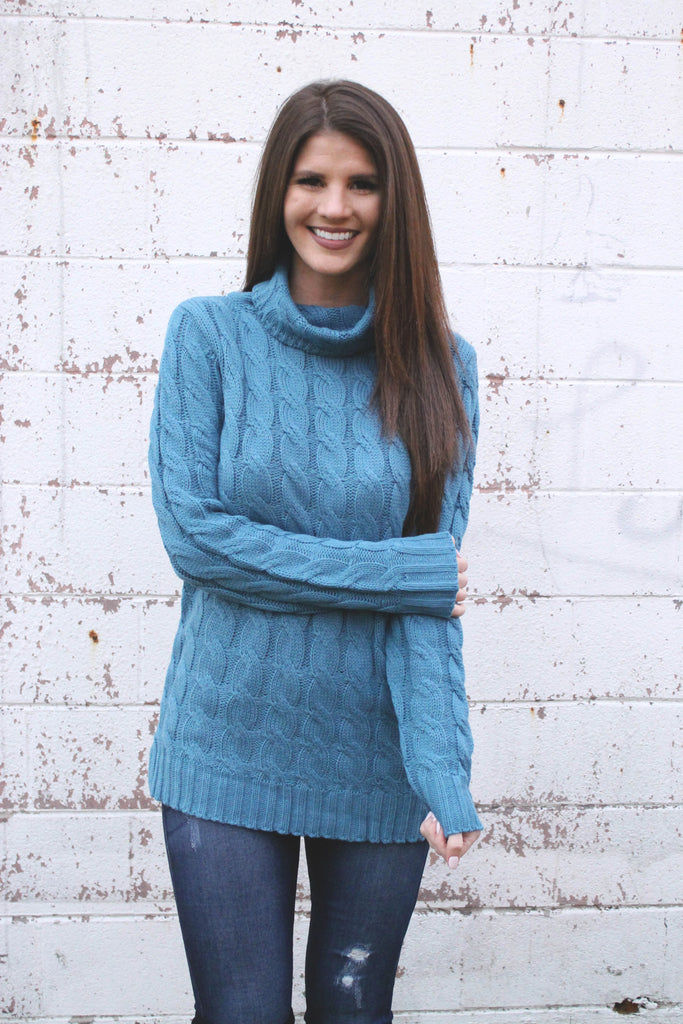 Blue Cable Knit Sweater Tunic
