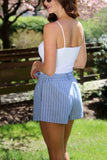 Blue Stripe Tie Front Short