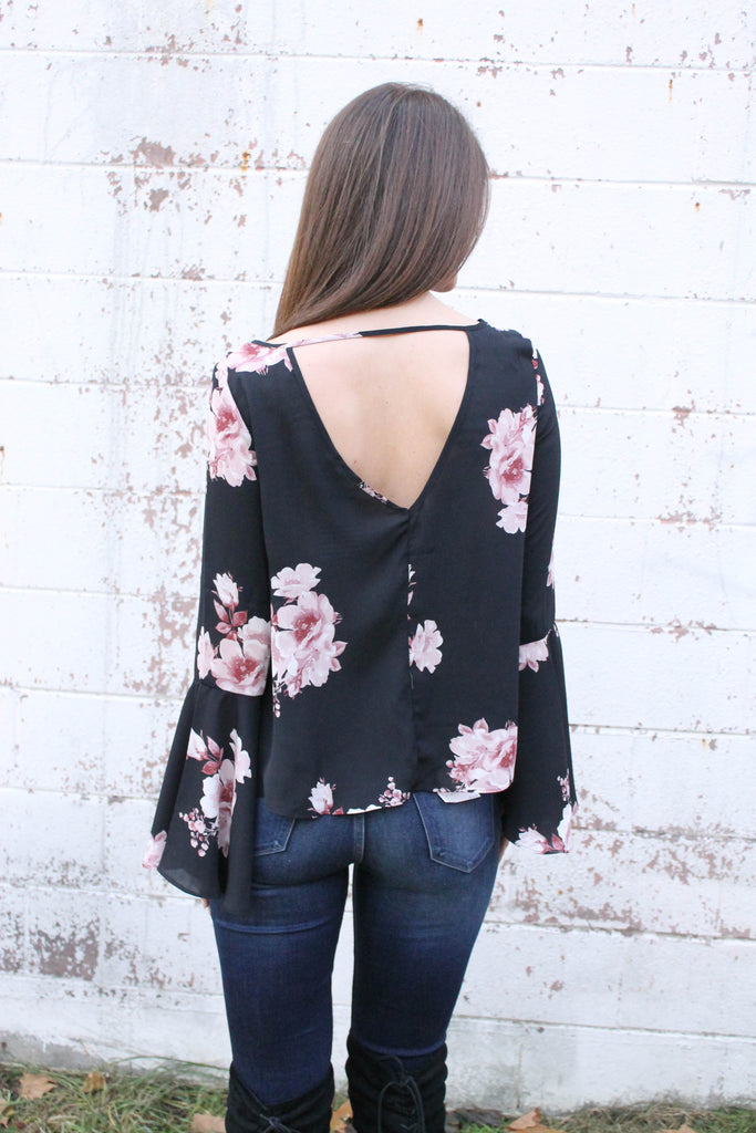 Black Floral Bell Sleeve Blouse