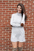 Taupe Suede Patch Stripe Dress