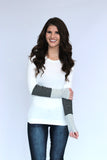 Ivory 2 tone Stripe Cuff Top