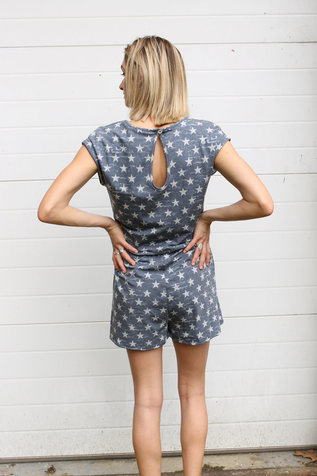 Navy Star Romper