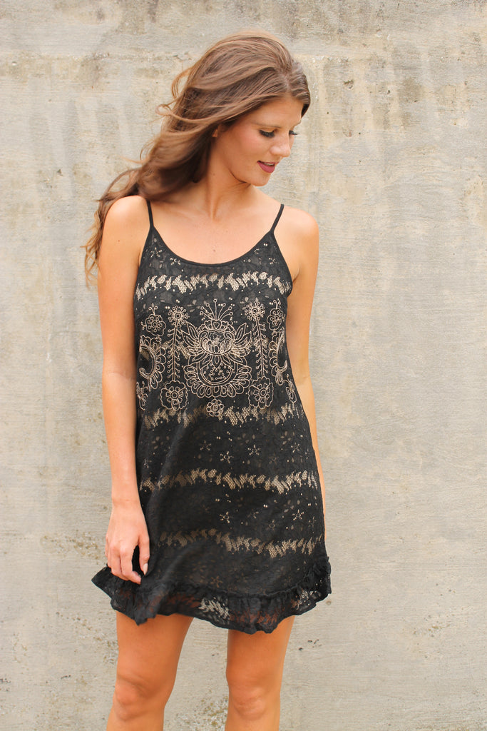 Black/Taupe Lace Dress