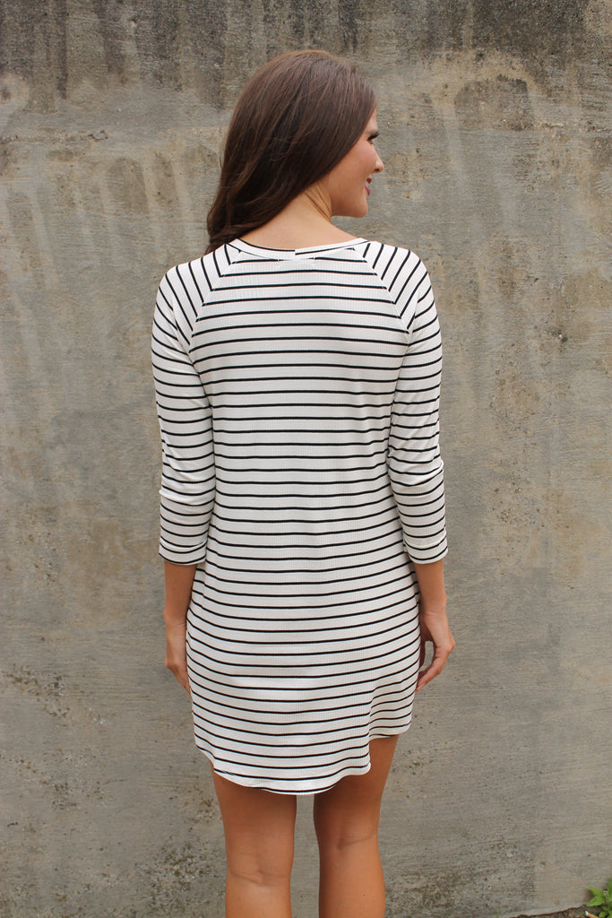 White Stripe Shift Dress