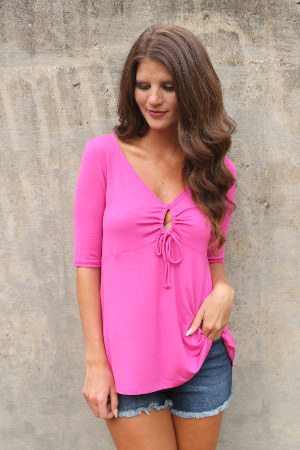 Pink Keyhole 1/2 Sleeve Top