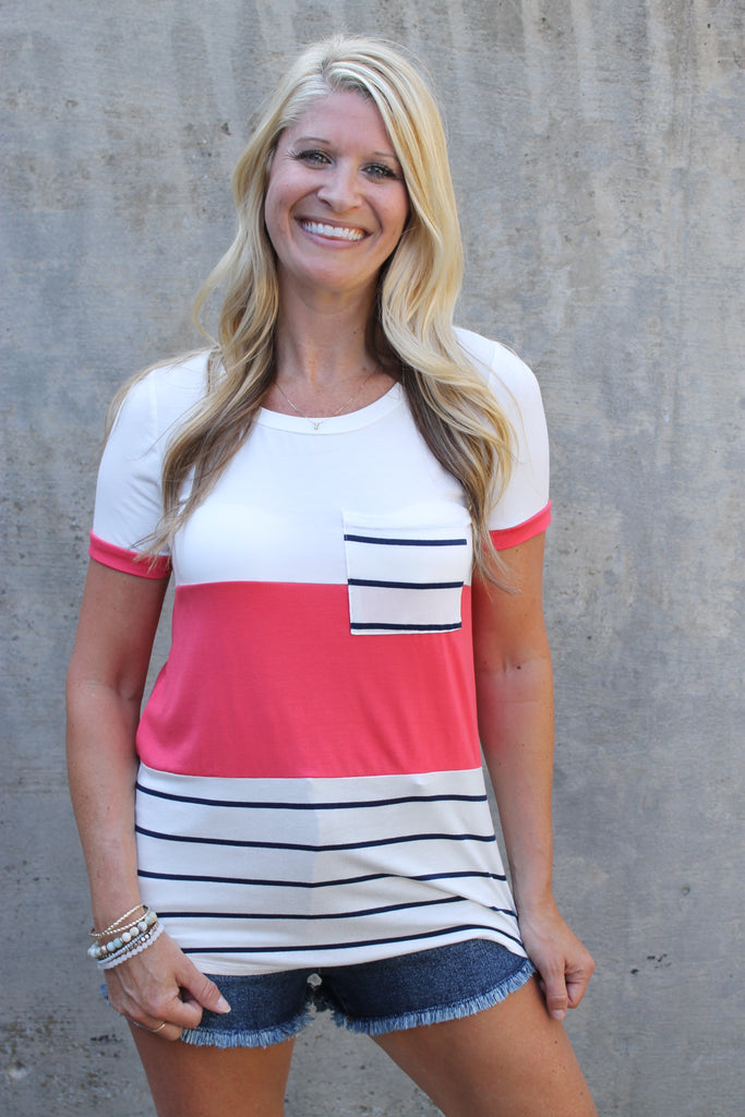Coral Stripe/Colorblock Tee