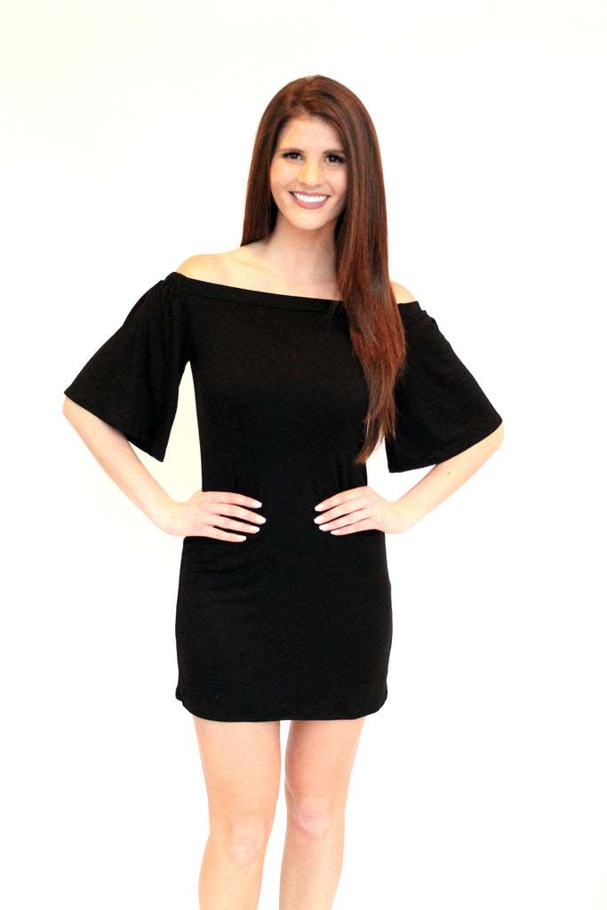 Black Off Shoulder Basic Dress