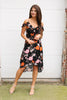 Black Floral Cold Shoulder Hi/Lo Dress