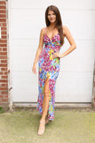 Pink/Blue Floral/Animal Maxi Dress