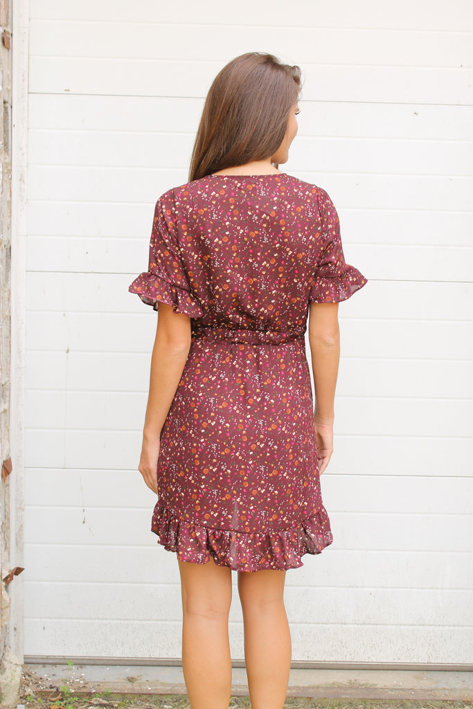 Wine Floral Ruffle Dress