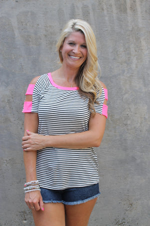 Stripe Neon Strap Top