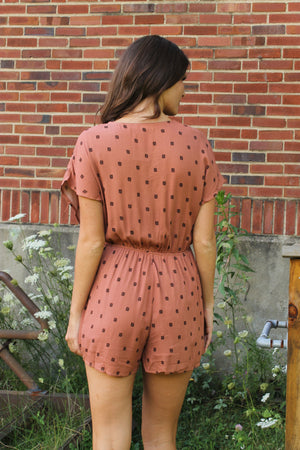 Rust V Neck Romper
