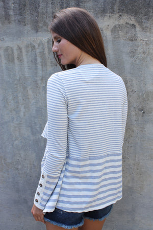 Charcoal/Ivory Stripe Cardigan