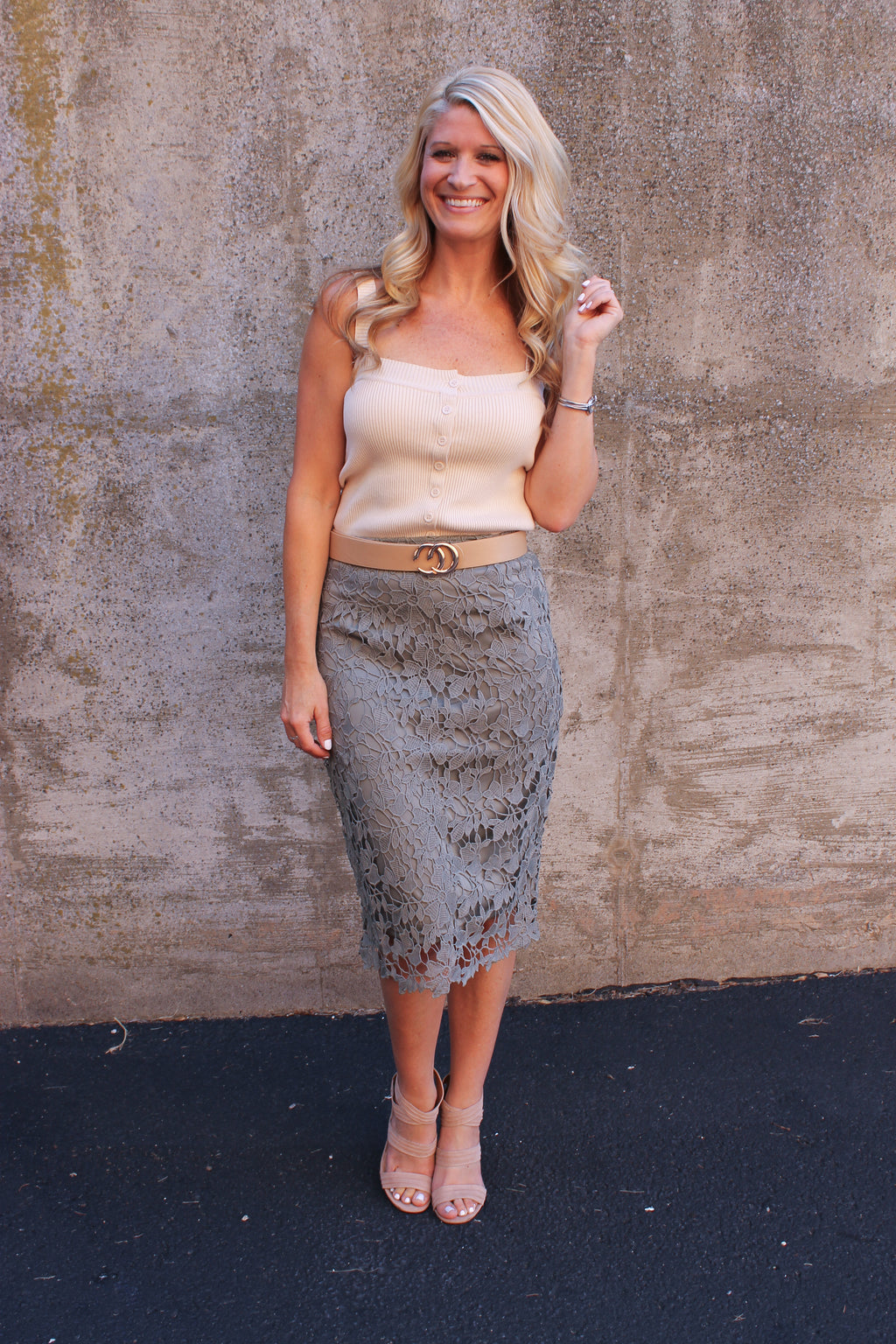 Olive Crochet Lace Skirt