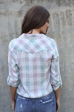 Green/Purple Plaid Tie Front Shirt