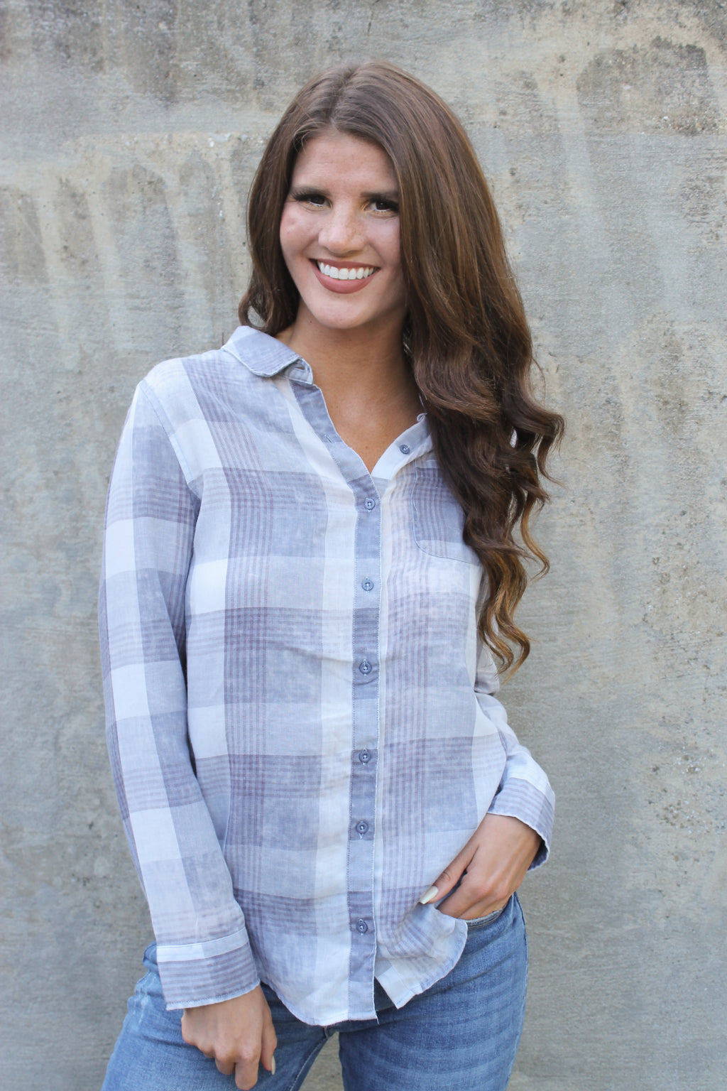 Purple/Grey Plaid Shirt