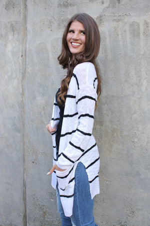 White/Black Stripe Cardigan