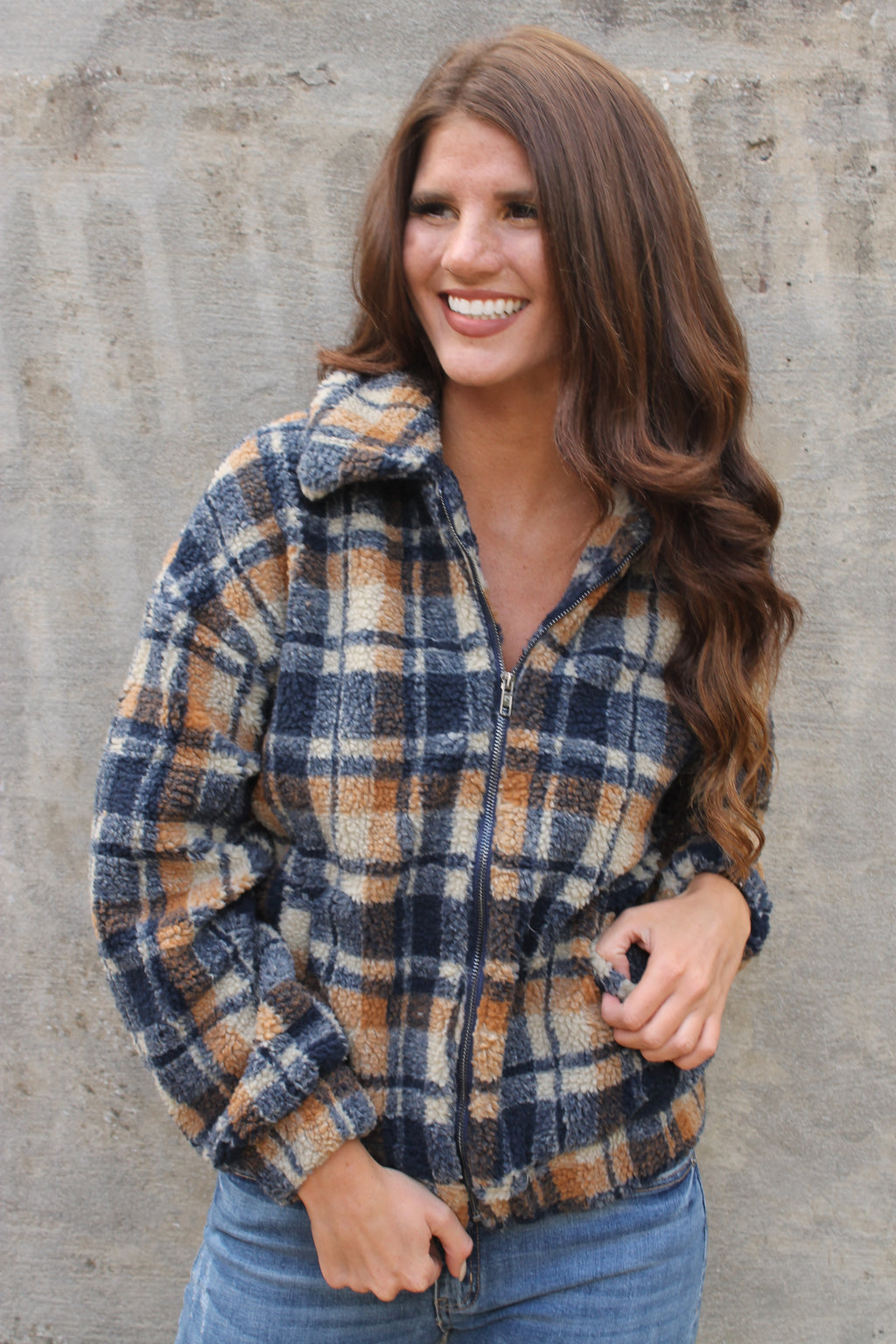 Brown Fur Plaid Jacket