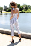 White/Black Ruffle Strap Jumpsuit