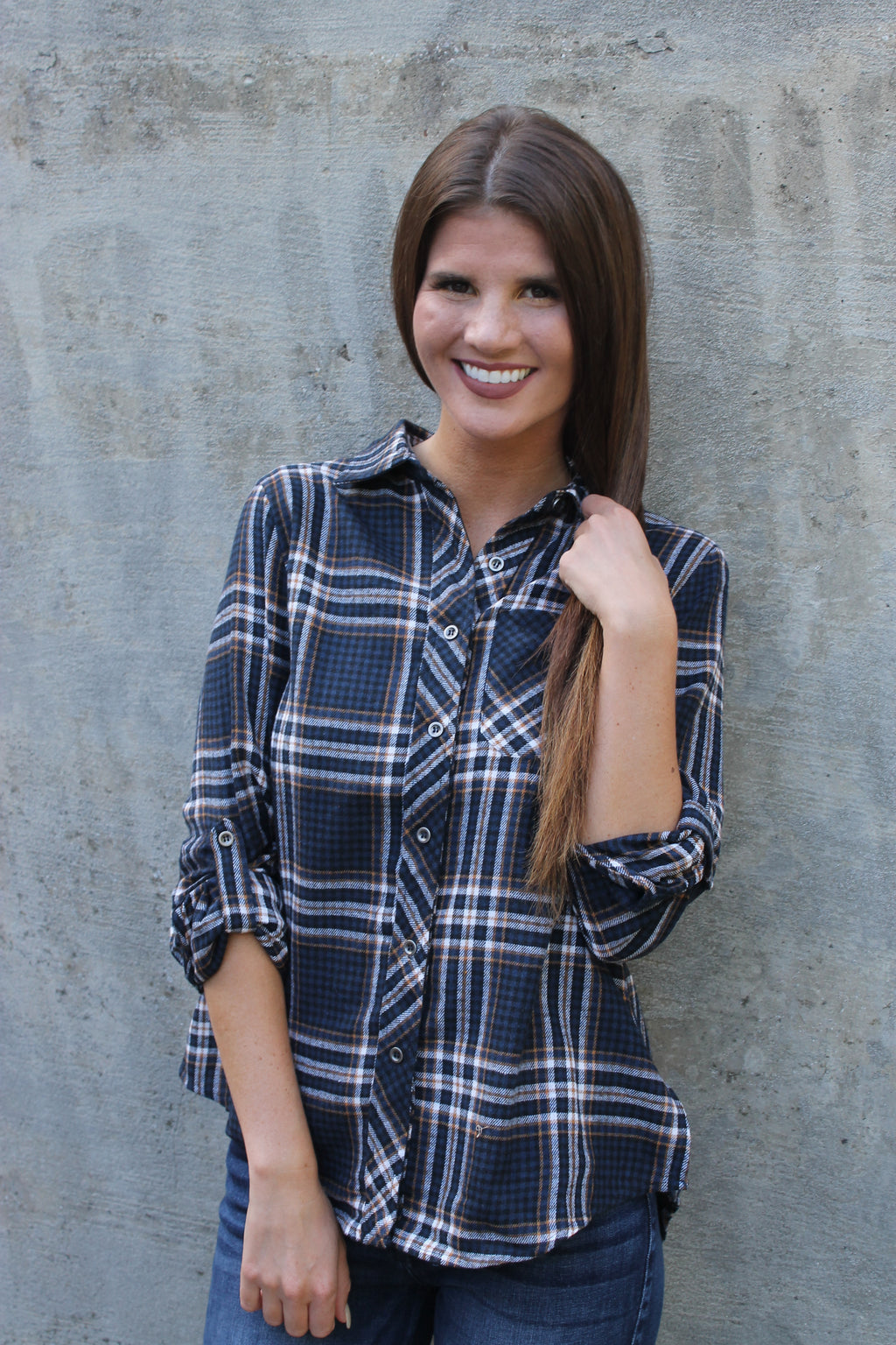 Navy Rust Plaid Shirt