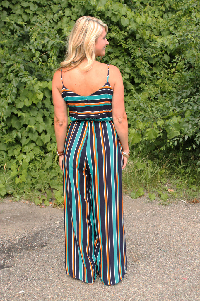 Navy Stripe Cut Out Jumpsuit