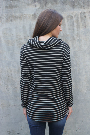 Black/Taupe Stripe Cowl Neck Top