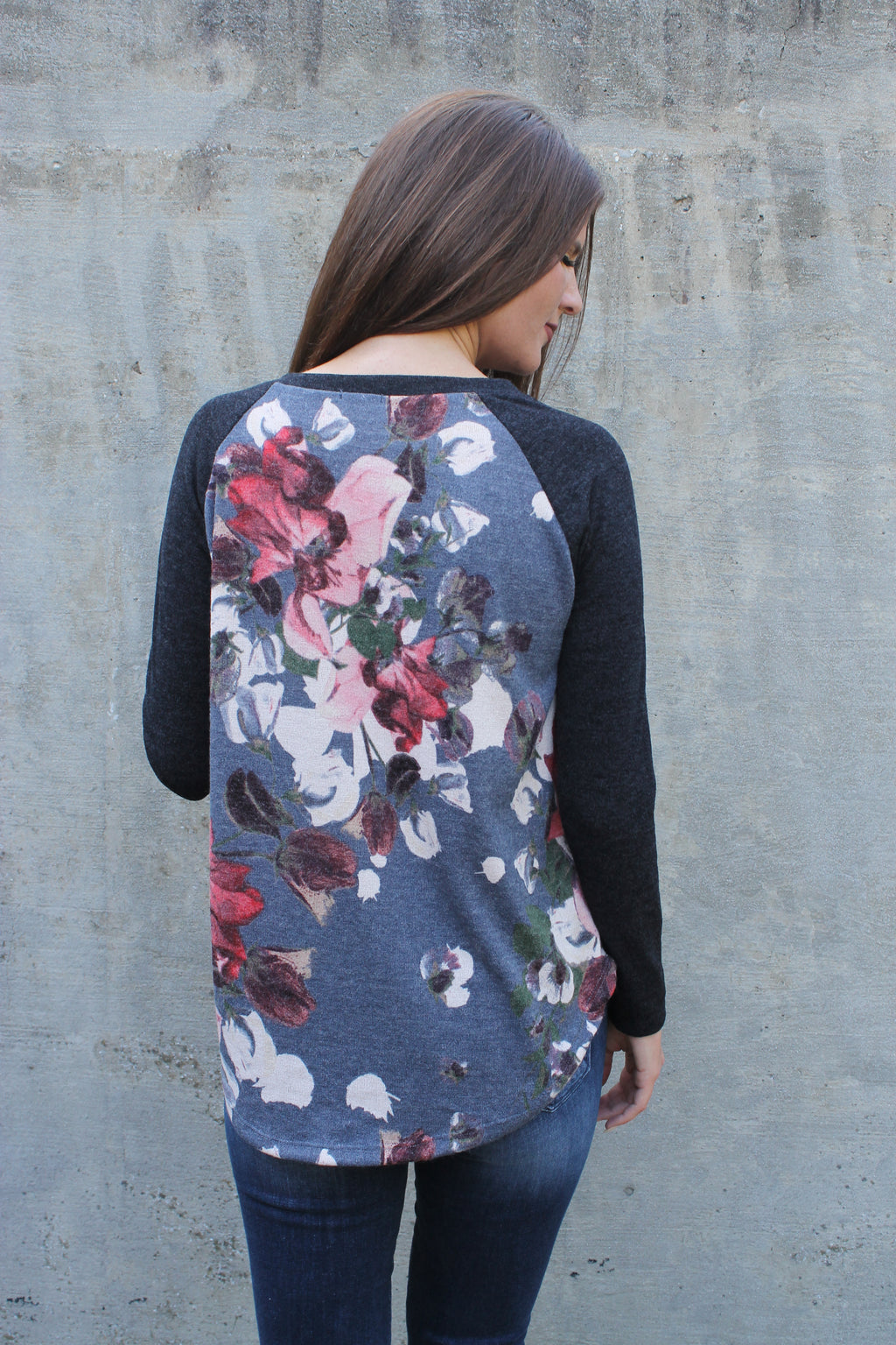 Burgundy/Black Floral Raglan Top