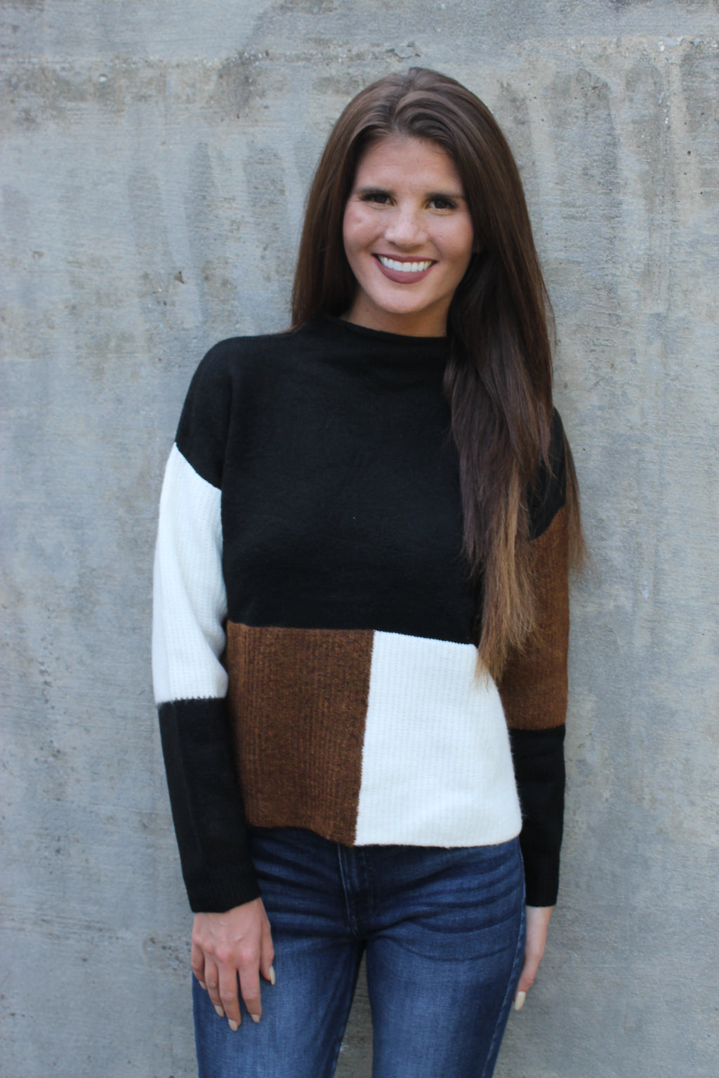 Black/Brown/Ivory Colorblock Sweater